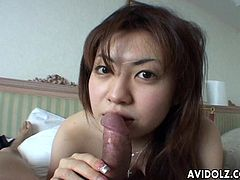 All of the video the Asian floozy is sucking on the fat dick and she is giving it a hot swallow. She is in a pov scene and she can handle the camera real well.