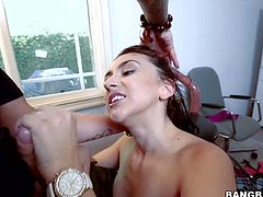 Pale skinned naked girl Mandy Muse with pink pussy and natural tits is proud of her bubble butt. She spreads her ass cheeks with no shame and then gets her mouth filled with cock.