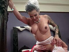 Zane Anders gets himself a beautiful bride, wearing sexy lingerie and teasing him with her beautiful big butt. As soon as she takes off her pantie, Zane finds out that the beautiful lady is a ladyboy with big hard cock. And like the way he licked her ass, he sucks the shemale's cock with pleasure!