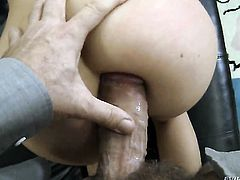 Rocco Siffredi gets his always hard ram rod sucked by Jessie Volt before she gets fucked in her butt
