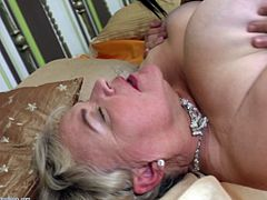 Haline gets eaten out by young Rowan. Who doesn't fantasized of a granny and young lesbian? Rowan loves penetraing Haline with her fingers and tounge. She moans in pleasure, as her wet peach is being devoured.