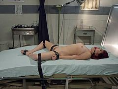 Looks like this filthy bitch deserves a special treatment from our special doc, Aiden. Aiden knows how to treat dirty sluts like this one, she has her special training and skills, and will make sure that Lea will get her pussy treated correctly, now that she's ball gagged and tied with all those leather straps.