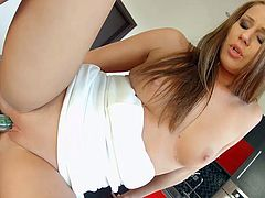 Blue eyed red head Angel Blade dildo fucks her slit and gives unforgettable blowjob