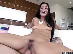 Lyla Storm with big butt squeezes the juice out of meat pole with her skilled hands