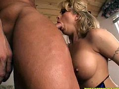 Angelic Cougar With Fake Tits Giving Her Horny Guy Blowjob
