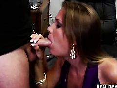 Mature goddess gets her mouth fucked silly by fuck hungry guy