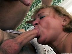 Whorish grannie gets her pussy and throat fucked by young dudes