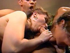 Bosomy sexpots enjoy sucking fat strong cocks and being fucked doggy