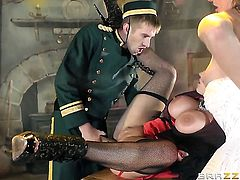 Danny D makes Rebecca Moore scream and shout with his stiff meat stick in her bum hole