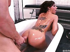 Gia Dimarco turns Johnny Sins on and takes his ram rod in her mouth
