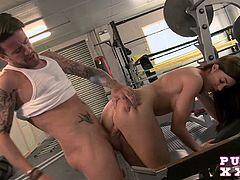 Busty hottie wants to get her even hotter, but finishing a workout just got a different meaning.