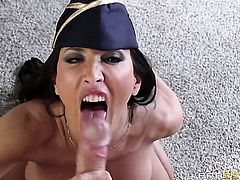 Johnny Sins admires saucy Lezley Zens body before she takes his tool in her mouth