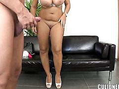 Chicana with phat bottom tries her hardest to make hard dicked dude bust a nut with her mouth