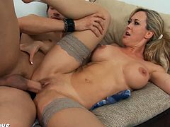 Busty blonde milf in sexy stockings Brandi Love sucking and fucking a big dick at school. Her favorite student got a big meaty cock and he sticks it deep in her snatch.