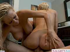 Big boobed blonde babe Nikita Von James gets pussy fucked in threesome