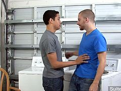 Horny gays Lucas Vitello and Sebastian Keys are doing laundry for the right place and the right time as they are both alone and horny and they would love to have a quick ass fuck while waiting.