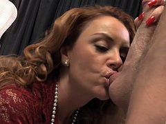 Horny milf gets cum in her mouth after being bonked hardcore