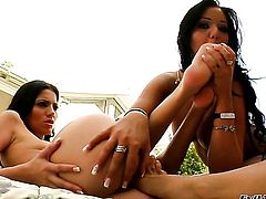 Pure Angel plays with Angelica Hearts jugs before she eats her hole