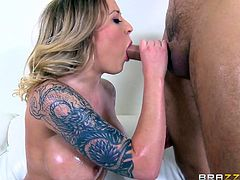 tattooed blonde in stockings gets hardcore pounding