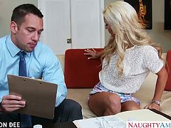 Beautiful blonde office babe Cameron Dee gives blowjob gets fucked and facialized
