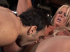 Zestful blonde milf with big tits gives a cock a blowjob then takes in up her shaved pussy