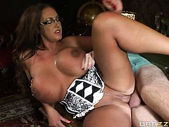 Emma Butt with giant hooters wants Ryan Ryder shove his ram rod in her ass again