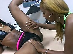 The fun never ends even without real man meat as these skinny ebony lesbians take pride in this hot pussy toying nasty encounter.