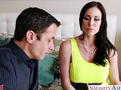 Ultra sexy brunette mom in yellow dress Kendra Lust sucking and fucking a large dick