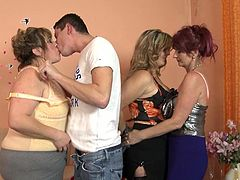 Mature versed ladies love fresh cocks. A naughty redhead and two blonde-haired bitches start playing dirty games with a horny guy. Click to watch them getting naked. Those big lovely tits demand to be squeezed, admired and licked. Watch slutty Riona and her companions sucking the man's dick with passion.