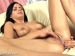 Up close filming of a sexy European babe as she masturbates her big taco pussy