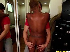 Robby has a thing for black women. Although he was filming Karma just for fun, he ended up kissing her and oiling her big black butt. Obviously, he is captivated by her chocolate ass. She loves a guy squeezing her ass, it makes her ready for a big fuck.