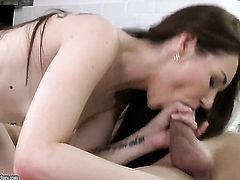 Brunette Stacy Snake gets her mouth fucked to death by hot man