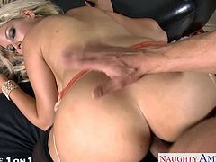 Ultra sexy blonde housewife with big knockers Bridgette B. gives head and gets pussy fucked in POV style