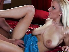 Haley Cummings does her best to make hard dicked dude Rocco Reed cum after headjob
