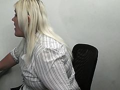 Blonde secretary BJ and have laid at work