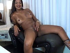Taissa is a hot and attractive lady, with a fat hard cock. Watch this naughty futunari's hot naked body and enjoy the sight of her amazing tits, and round ass. As Taissa can't help it no more, she grabs on her cock and starts jerking it up and down, until jizzing the load off.