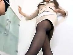 Dominant asian female in pantyhose Fottjobs And Blowjobs in the Office