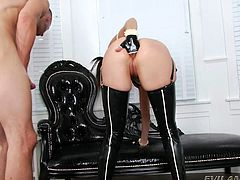 Dana, in a minion mask and kinky latex costume is up for anal sex full of cream, gaping and deep throat fuck. Like a worthless slut, she kneels and sucks the big hard dick, before getting her creamed ass licked. Guy creams her ass more and shoves his cock deep inside that stretched ass from behind.