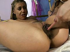 Blonde Katy Parker and lesbian Nikky Thorne are horny for each other