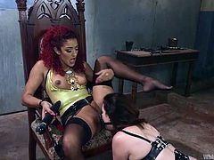 Sovereign and Daisy are two hot lesbians in love and they like to have a bit of fun now and then with their sex life. Sovereign ties the strap on on her face, to simulate a dick-fucking. She goes in and out of Daisy's cunt. But this after she licks her beautiful pussy with her luscious lips. What's more, Daisy even licks the black strap on, her girlfriend has on.