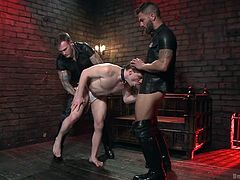 Christian and Adam love to have threesomes once in a while. That's why they give a covert ad in the newspaper, which is answered by quite a lot of hot gay men. But they pick up Doug and take him to their usual sex dungeon. The boys tie Doug up and make him suck their dicks. They then put him down on his knees and ask him to swallow their cum.