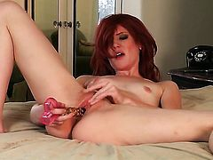 Playful seductress Elle Alexandra with tiny boobs and shaved snatch shows it all in a playful manner