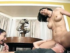 Sonny Hicks makes Roxanne Hall suck his thick schlong non-stop
