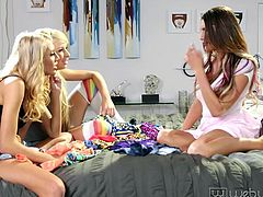 Do you know what happens, when a sexy trio of young ladies meet and are all horny? Take a look and you'll figure out by yourself... The blonde-haired bitches seem fond of naughty August's gorgeous big tits and start licking her nipples, after they undress in the bedroom. See how slowly the atmosphere gets hot!