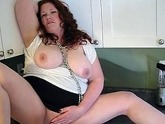 Aged lady id like to shag Jennifer has A creampie in the kitchen