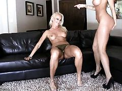 Blonde Sandee Westgate with juicy boobs has some lesbian sex fantasies to be fulfilled with Sandy