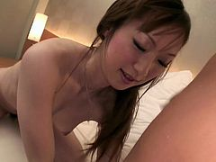 Busty babe gets dildo foreplay before banging stud