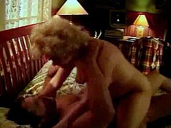 Curly-haired cute blonde gives reclinging dude long wet rimmer