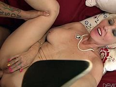 A horny mum took advantage of the fact, that her naive daughter was missing, and seduced the boyfriend. The surprised babe comes back right when her mum is with legs spread on the couch and the guy has ass fucked the crazy blonde whore from behind. Click to see the hardcore scenario!