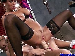 Lesbo glamour milf assfucked with a strapon